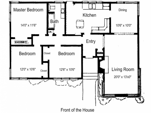 Simple house plan with 3 bedrooms house floor plans for Simple 3 bedroom floor plans
