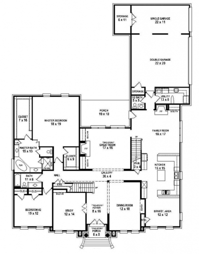 One Story House Plans With Five Bedrooms on 3 bedroom 2 bath house plan 1 story printable
