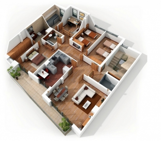 Incredible 1000 Images About House Floor Plan On Pinterest Building Plans 4 Bedroom House 3d Photo