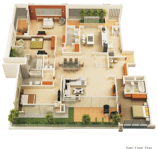 Inspiring 1000 Images About 3d Floor Plans On Pinterest Bedroom Apartment 3d Plan Of House Pic
