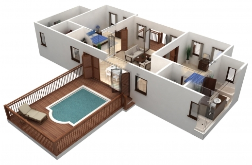 Inspiring 3d House Designs Blueprints Home Decor Loversiq Building Plans 4  Bedroom House 3d Pic