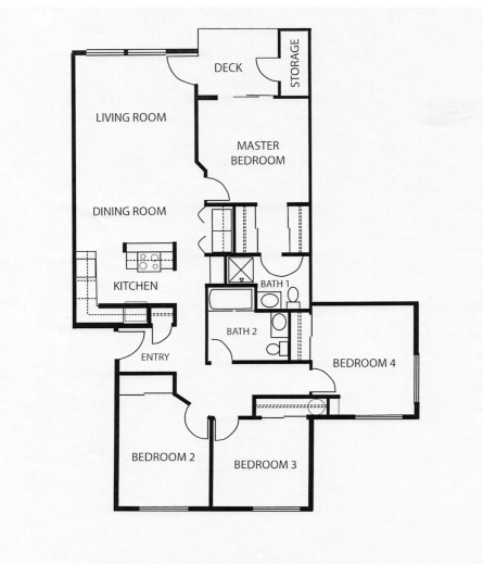 Marvelous 4 bedroom apartment floor plans our four bedroom for 4 bedroom flat floor plan