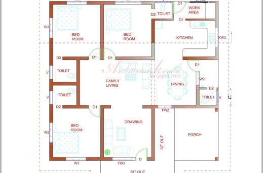 Elevation And Plan Difference : Kerala villa floor plans house