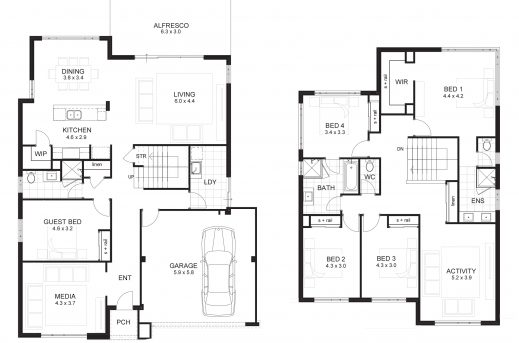 Marvelous Floor Plan Of A 2 Story House Small House Floor Story Plans With G 5 Floor Plans Images