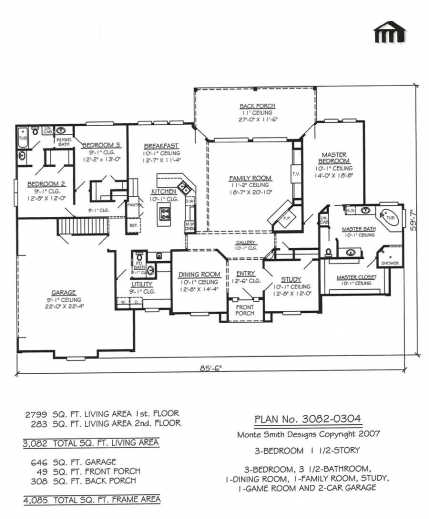 Outstanding two story house plans with 3 car garage arts for 2 story 2 car garage plans