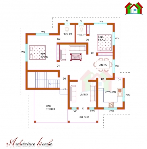 Kerala Home Design And Floor Plans: House Plans Kerala 1200 Sq Ft July 2019