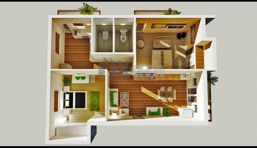 Remarkable 3d Floor Plan Of A 2 Bedroom Apartment In Kuwaitkw Outsource 3D Apartment & House Plan Photos