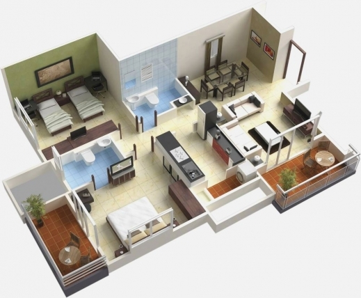 Simple 4 bedroom house floor plans 3d house floor plans Three d house plans