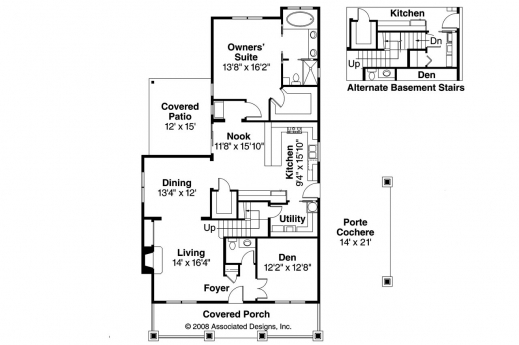 Bungalow floor plan with elevation house floor plans for Bungalow plans and elevations