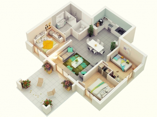 Remarkable Free 3 Bedrooms House Design And Lay Out 3d 3 Bedroom House Plans Images