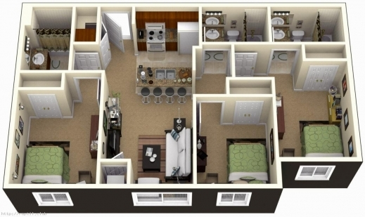 Stunning 3 Bedroom House Plans 3d Design With 3 Bathroom Home Design Simple 4 Bedroom House Floor Plans 3D Pic