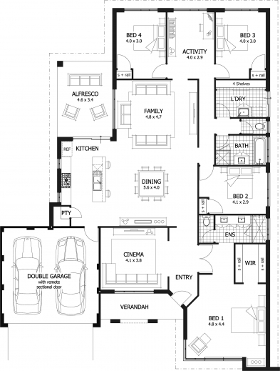 Stunning House Plans A 4 And 4 Bedroom House On Pinterest Four Bedroom House Floor Plan Image