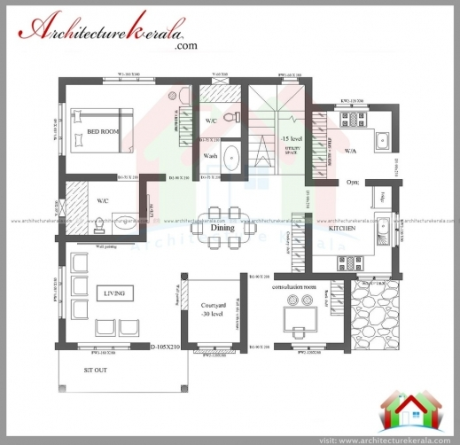 Stylish 3 bedroom house plans with photos in kerala arts 3 for Three bedroom house plans kerala style