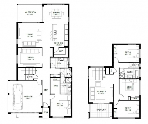Four bedroom floor plan house floor plans for Four bedroom house plans
