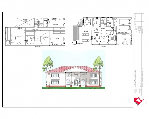 Stylish Full House Plans With Elevations Arts Elevation Of A Residential House Floor Plan Images