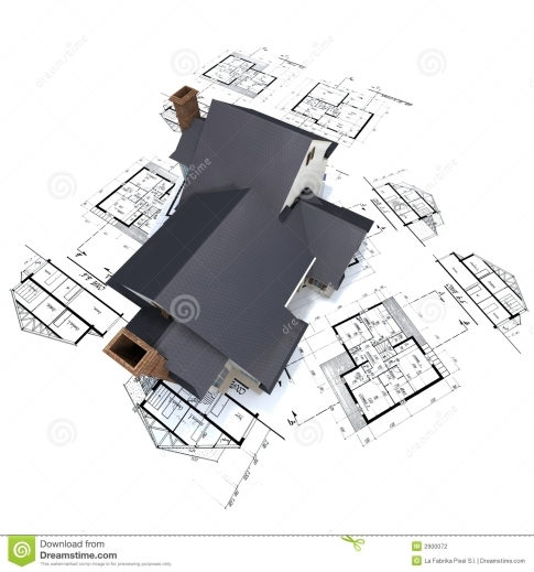 Stylish Residential House On Plans 3 Stock Photography