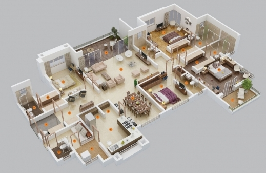 Wonderful 1000 Images About 3d Floor Plans On Pinterest Bedroom Apartment 5 Bedroom Apartment / Home Plan Design Pictures