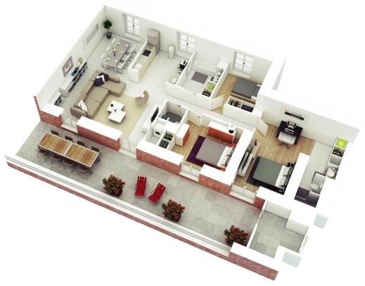 Wonderful 3 Bedroom House Designs Digihome 3 Bedroom Simple House Plans 3d Images
