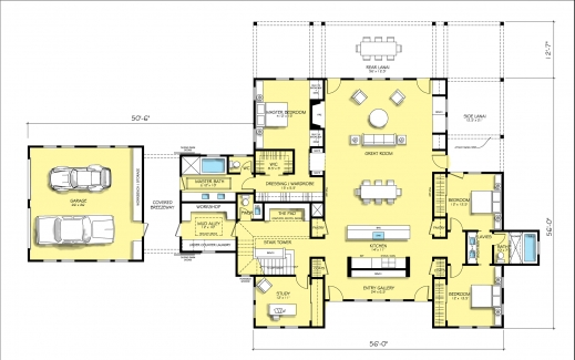 Modern Farmhouse Plans 3444 square feet 4 bedrooms 3 batrooms on 2 levels floor plan