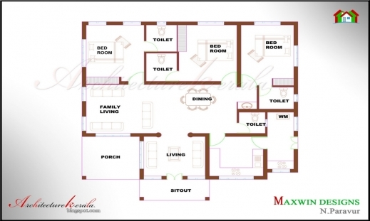 Awesome 3 Bedroom Single Floor House Plans In Kerala Home Designs 3 Bedroom House Plans Pic