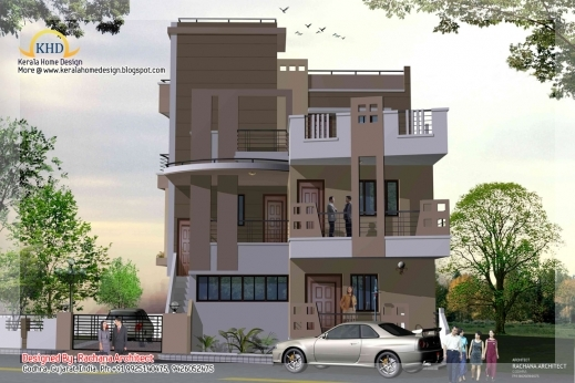Awesome 3 Story House Plan And Elevation 2670 Sq Ft Home Appliance 3story House Plan & Elevation Photos
