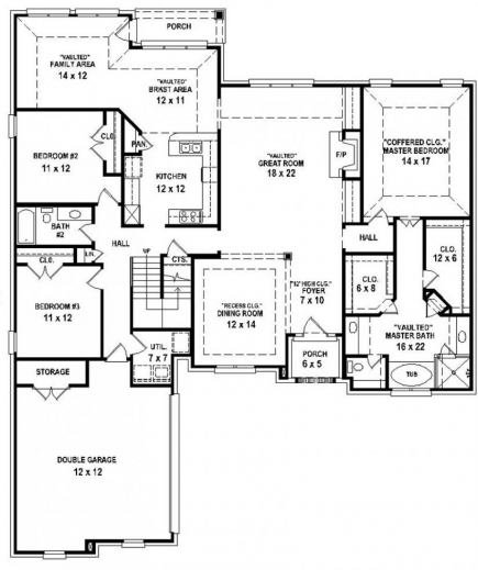 Awesome 4 Bedroom House Plans Glitzdesign House Plans 4 Bed Rooms Picture