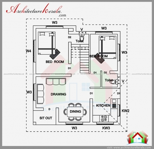 Best 2 Bedroom House Plan And Elevation In 700 Sqft Architecture Kerala Kerala House Plans 700square Feet Pic