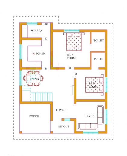 Single floor 3 bedroom house plan kerala house floor plans for 3 bhk single floor house plan