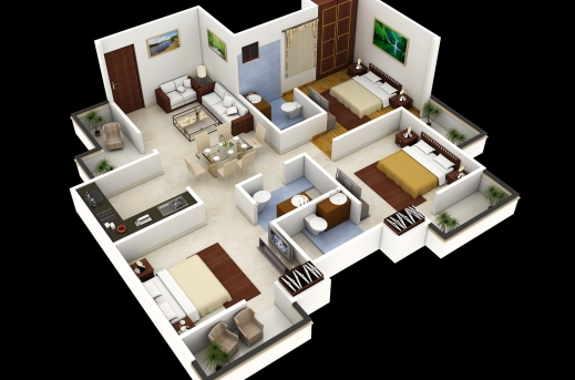 Best 44153dfloorplan Sjpg 1000 Images About 3d House Plan On 3d House Plan Photos