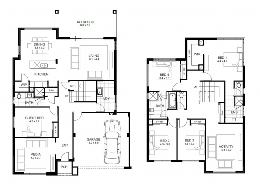 Best 5 bedroom house designs perth double storey apg homes for Floor plans for building a house
