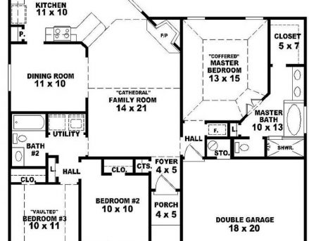 House plan single story with 3bedrooms house floor plans for One story apartments