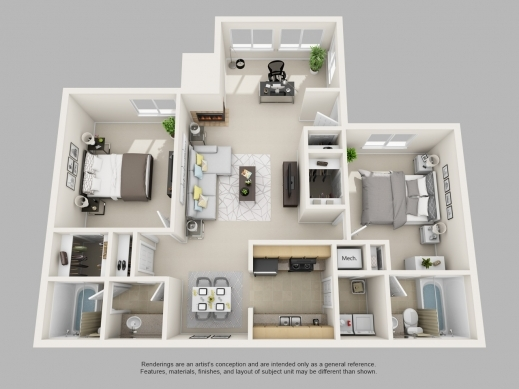 Best Park On Clairmont Apartments Floor Plans And Models 2 Bedroom 3d Floor Plan Pictures