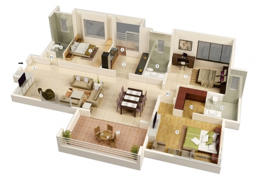 Fantastic 3 Bedroom House Floor Plans 3d Free 3 Bedrooms House Design And Free 3d 3 Bedroom House Plans Picture