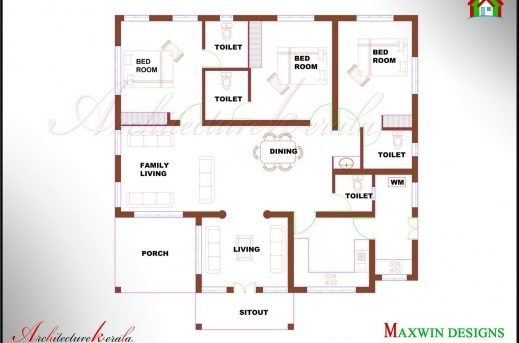 Fantastic 3 Bhk Single Floor Kerala House Plan And Elevation Architecture  Single Floor 3 Bedroom House