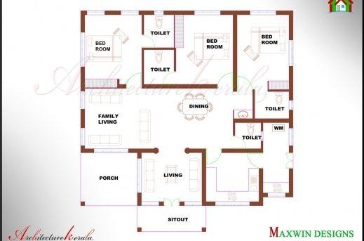 Fantastic 3 Bhk Single Floor Kerala House Plan And Elevation Architecture Single Floor 3 Bedroom House Plan Kerala Images