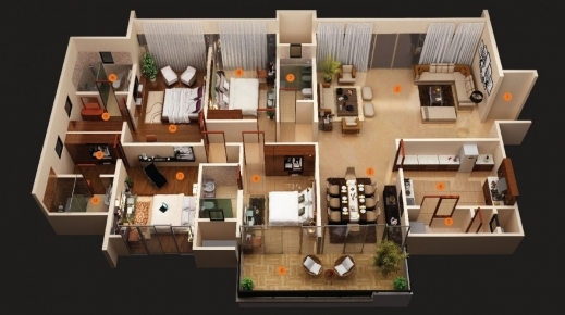 Fantastic Building Plans 4 Bedroom House 3d Google Search Home