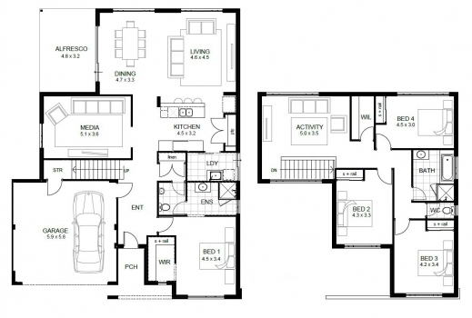 Fantastic Double Story House Floor Plans Design Ideas Amazing Simple Lcxzz Double Storey Floor Plans Pics