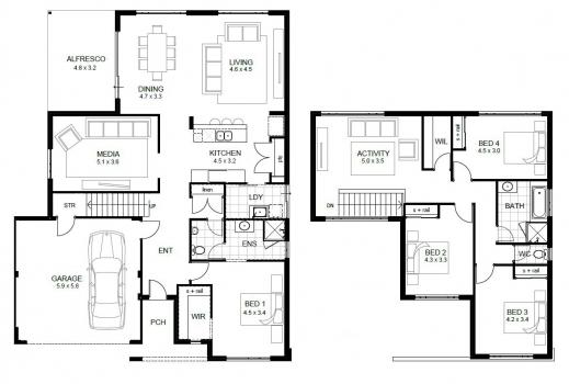 Fantastic Double Story House Floor Plans Design Ideas Amazing Simple Lcxzz Double Storey Floor Plans Pics