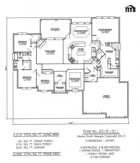 Fantastic Hot House Plans With 4 Bedrooms Together With 2519 10114 Room Four Rooms House Plans Images
