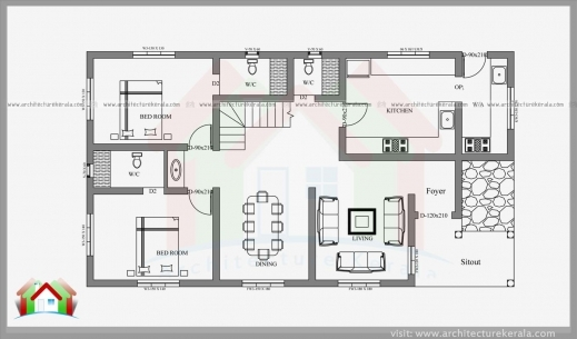 ... Fascinating 2 Bedroom House Plans In Kerala Kerala House Plans With  Estimate Two Bedroom House Plan ...