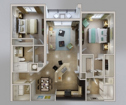 Fascinating 50 3d Floor Plans Lay Out Designs For 2 Bedroom House Or Apartment 2bedroom House Floor Plan In 3D Image