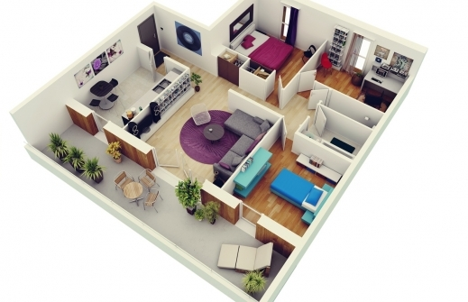 Fascinating Free 3 Bedrooms House Design And Lay Out 3D Bedroom House Plan Photo
