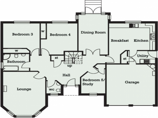 Fascinating house plans 5 bedroom dream house floor plan for Five room house plan