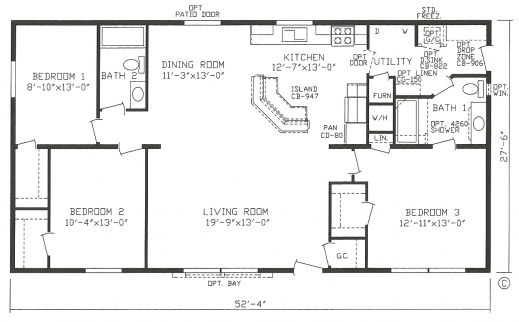 Fascinating Modular Homes Open Floor Plans Plans Open Plan 3 Bedrooms Picture