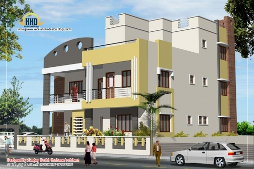 Incredible 3 Story House Plan And Elevation 3521 Sq Ft Home Appliance 3story House Plan & Elevation Pic