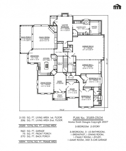 Incredible Plan No 3589 0504 7 Room House Plans Pics