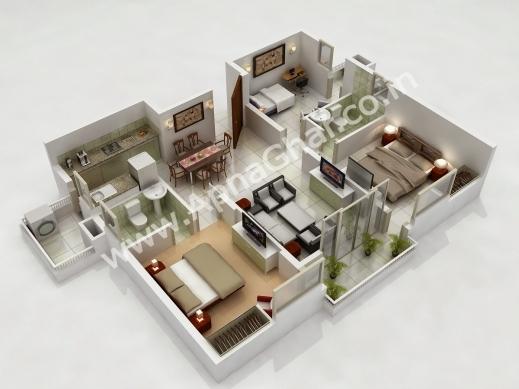 Inspiring 3d House Plans Or Free 3 Bedroom 3d House Plans3 Hcs435 Free 3d 3 Bedroom House Plans Image