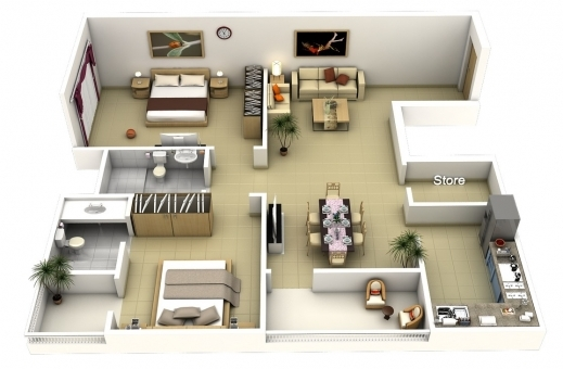 Inspiring 50 3d Floor Plans Lay Out Designs For 2 Bedroom House Or Apartment 2 Bedroom 3d Floor Plan Photos