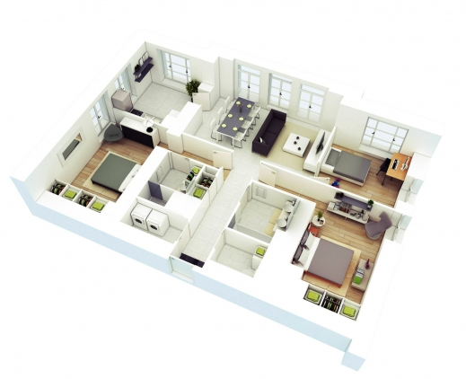 Inspiring Free 3 Bedrooms House Design And Lay Out 3bedroom House Plans In 3D Photo