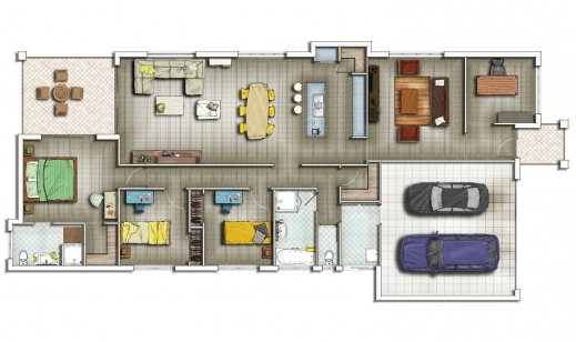 House floor plan in 2d house floor plans for Plan en 2d